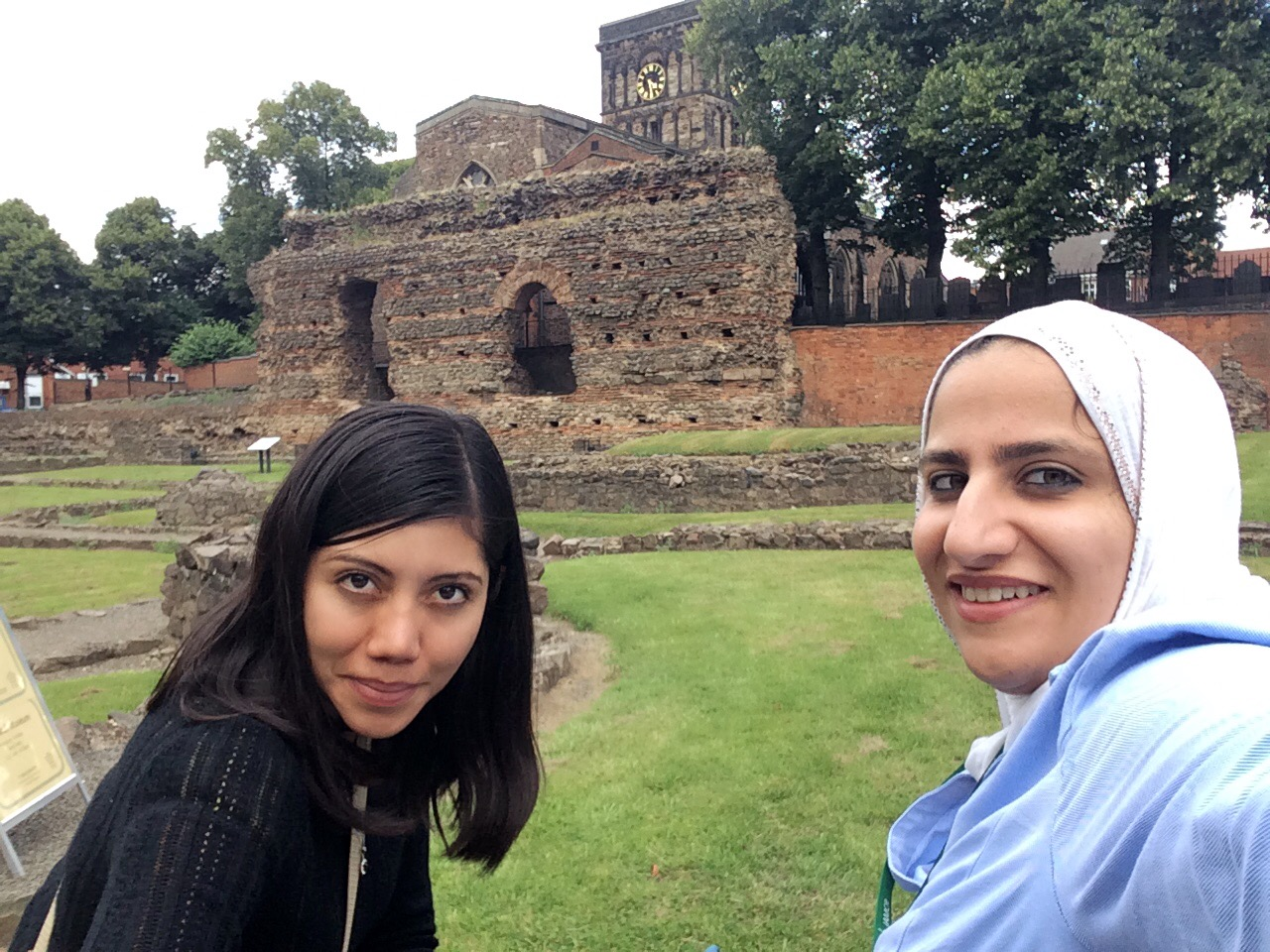 Andrea and friend in front of the baths in Leicester