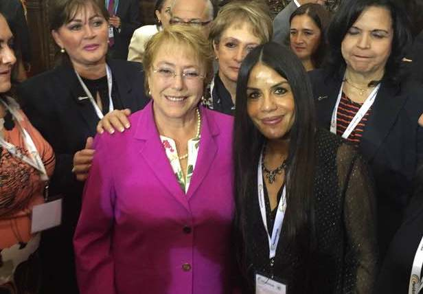 Michelle Bachelet, President of Chile and Former head of UN Women, with Aimée Vega, chair of IAMCR's Task Force on GAMAG