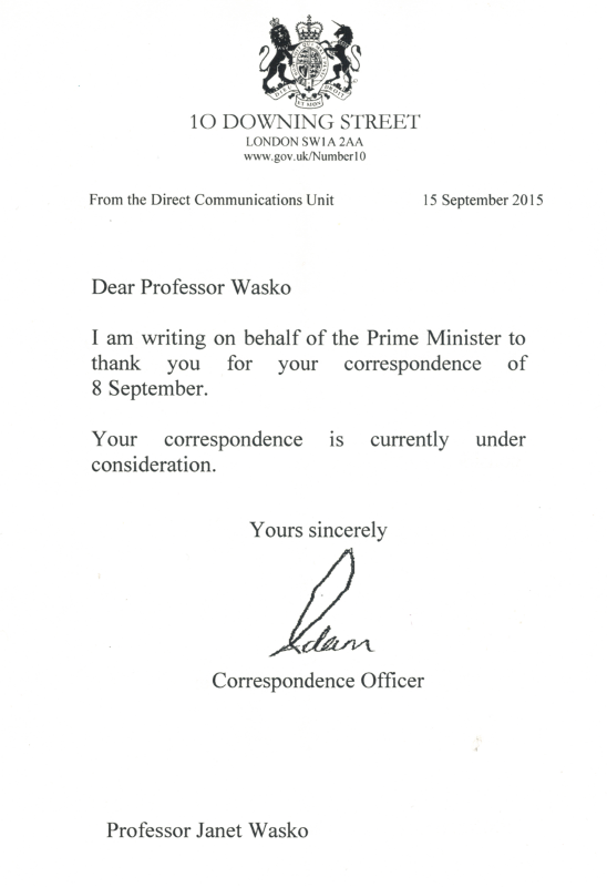 Letter received from the British Prime Minister's office dated September 15, 2015