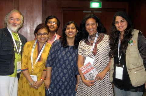 Geisa, second from right, with other members of the Comic Art Working Group in Hyderabad