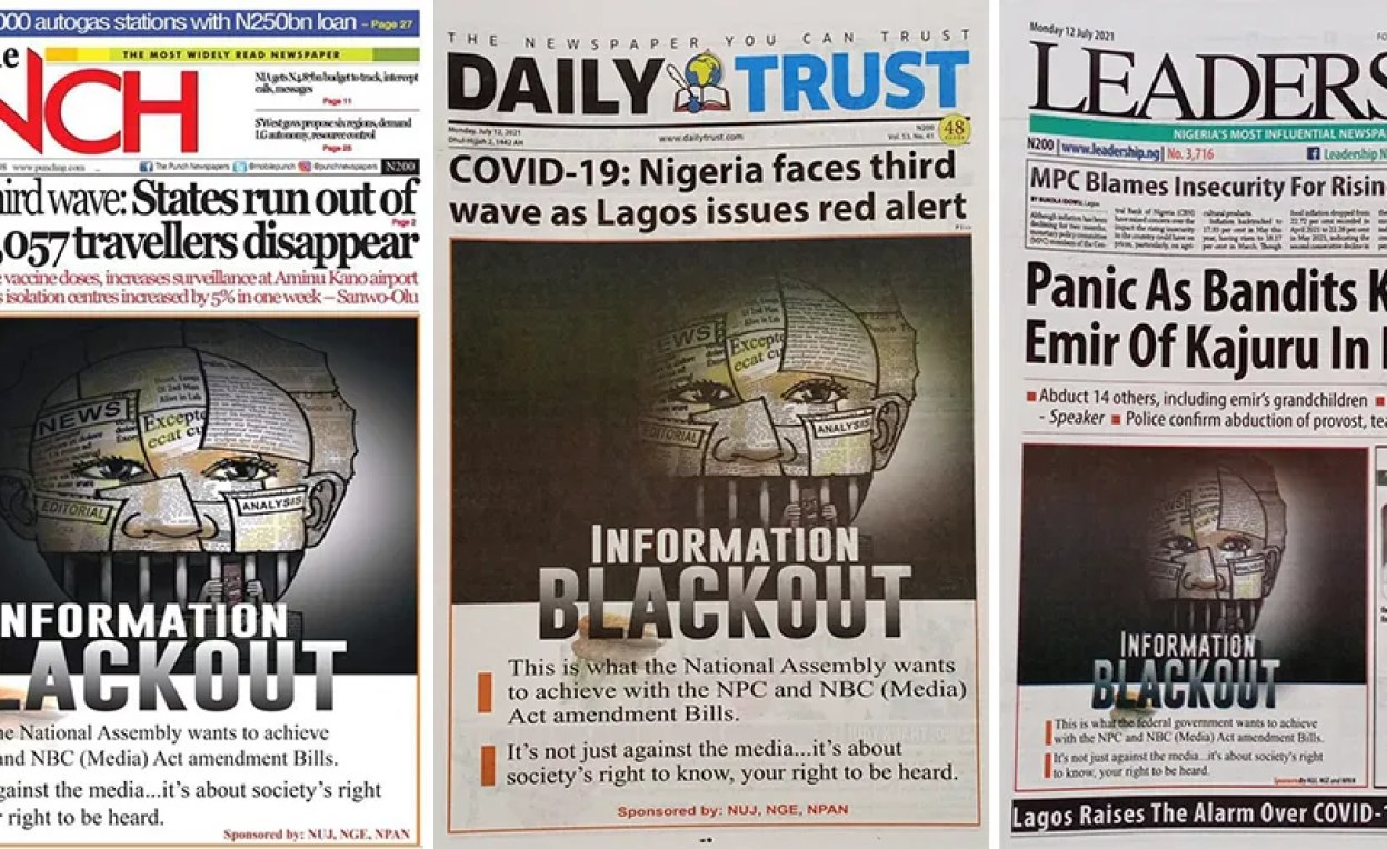 """Newspaper front pages for the """"Information Blackout"""" campaign"""