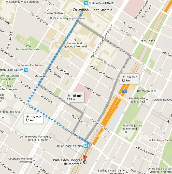 Map of UQAM and the Palais des Congrès. Click on it to see a larger size.