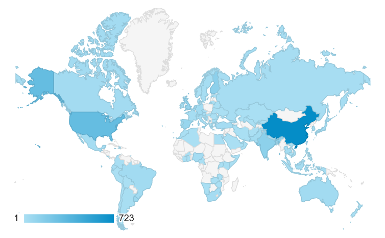 map Thousands of visitors from at least 98 different countries