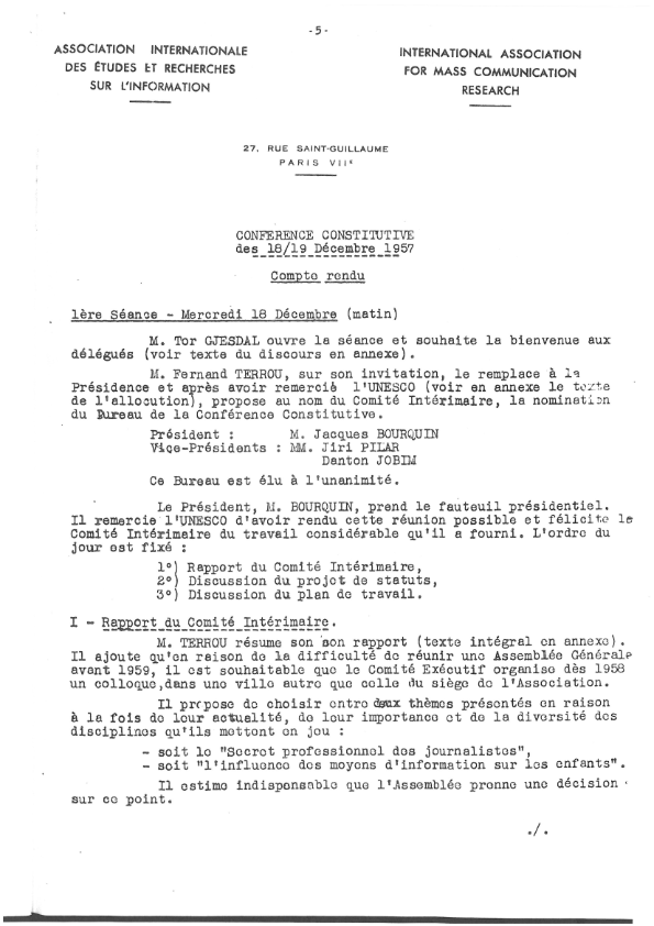 The first page of the minutes of the founding meeting of IAMCR, 18/19 December 1957