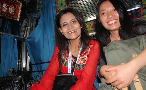 Wajiha Raza Rizvi (left) and friend on a Hyderabad bus
