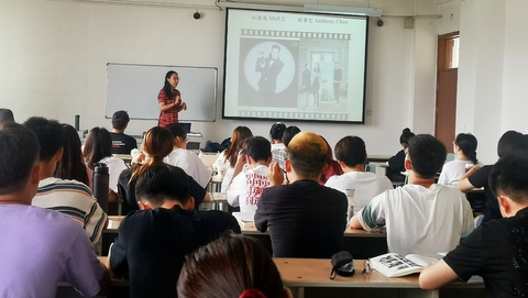Xueyan Cheng during one of her lectures. Click on image to enlarge